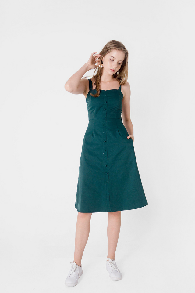 Cher Sweetheart Midi Dress (Forest) - Small