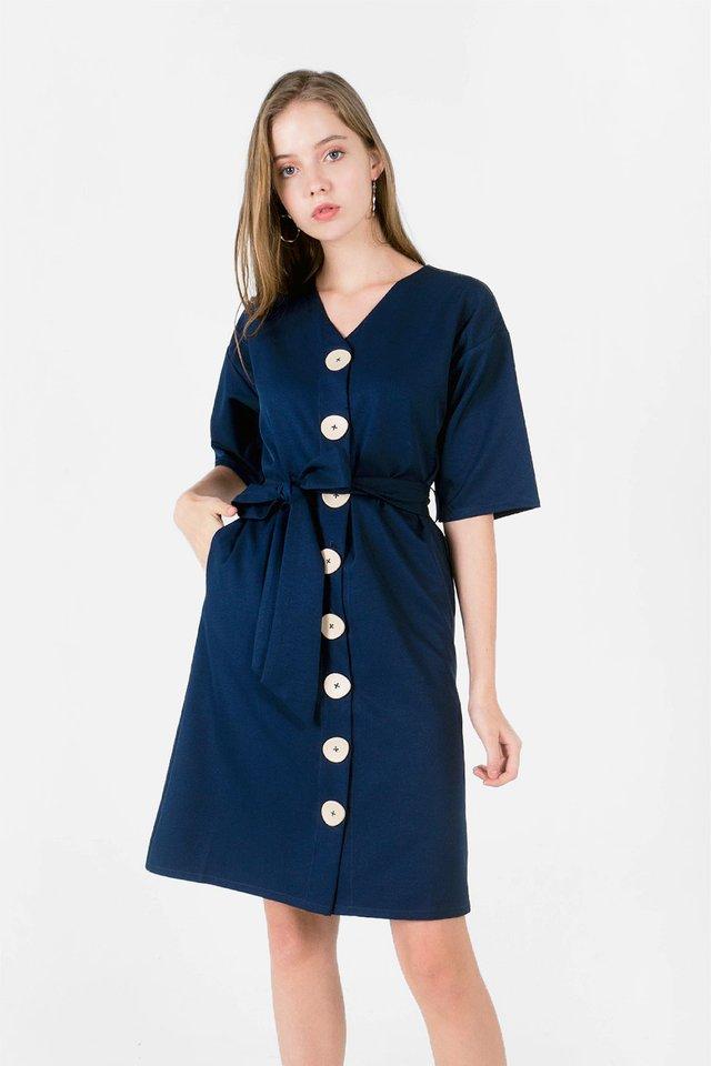 Miu Buttoned Dress (Navy)