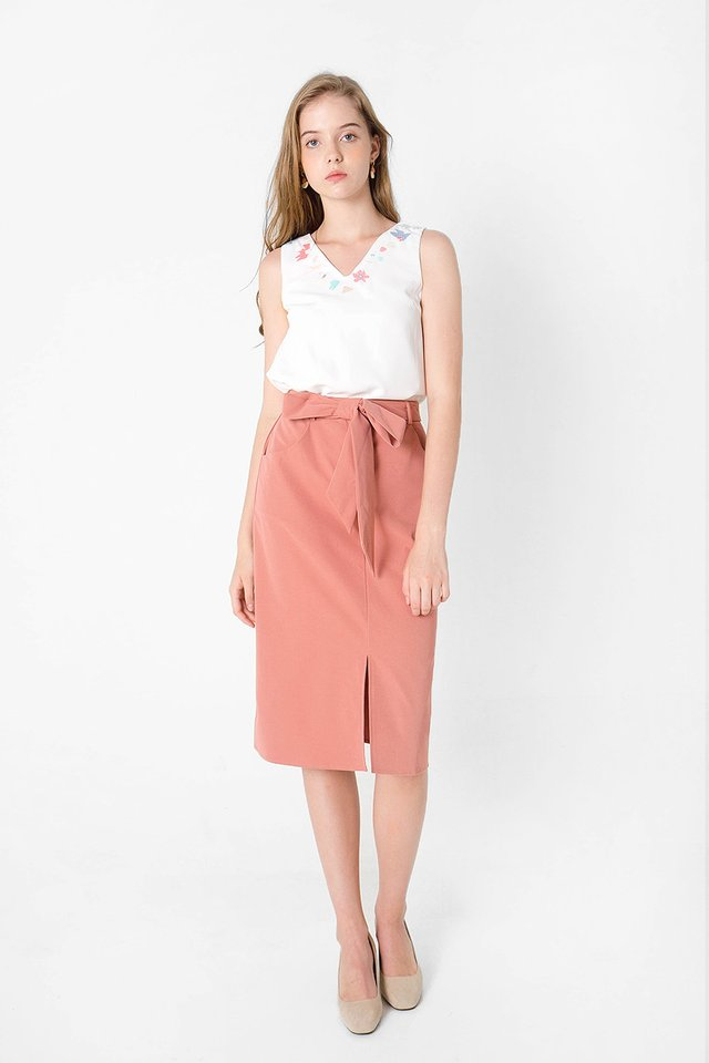 Doodle Midi Skirt (Rosewood)